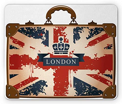 Tappetino per mouse Union Jack, Valigia da viaggio vintage con bandiera britannica Nastro e immagine di corona di Londra, Tappetino per mouse in gomma antiscivolo rettangolo di dimensioni standard, bl