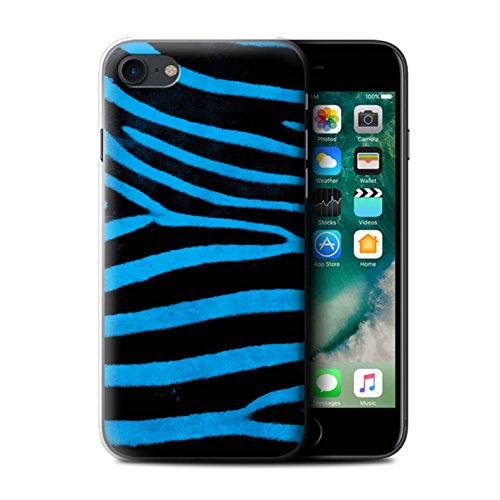 Stuff4 Hülle / Case für Apple iPhone 7 / Schwarz/Weiß Muster / Zebra Tier Haut/Print Kollektion Blau