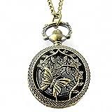 Genven Einfach zu bedienende Haushaltsprodukte Schöne Schmetterlings-Muster-arabische Ziffern-Bronzedamen-Quarz-Taschen-Uhr mit Kette