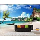 YShasaG Seidenwandbild 3D Fototapete auf Einer Wand Sommer Strand Kokospalme Wohnkultur Wohnzimmer Hintergrund 3D Wandmalereien Tapete Für Wände 3D,368cm*254cm