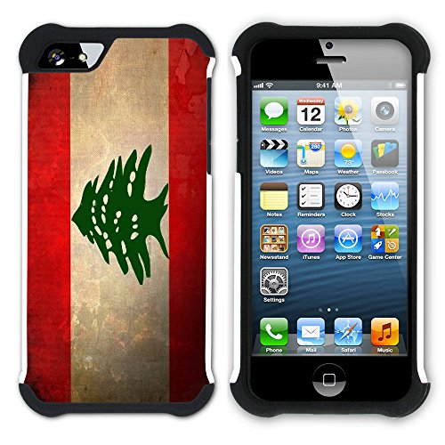 Graphic4You Vintage Uralt Flagge Von Turkey Türkisch Design Hart + Weiche Kratzfeste Hülle Case Schale Tasche Schutzhülle für Apple iPhone SE / 5 / 5S Libanon Libanesisch