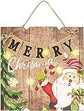 com-four Quadro Natalizio su Cartello in Legno con Illuminazione a LED per Natale, Cartello Luminoso Natalizio con 6 LED, a Batteria per Appendere 24 x 24 x 3 cm (Merry Christmas)