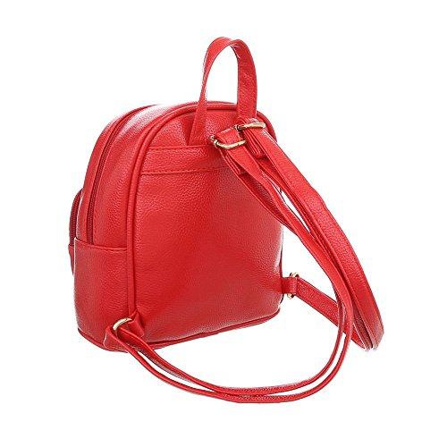 iTal-dEsiGn Damentasche Sehr Kleine Rucksack Freizeittasche Kunstleder TA-M1139 Rot