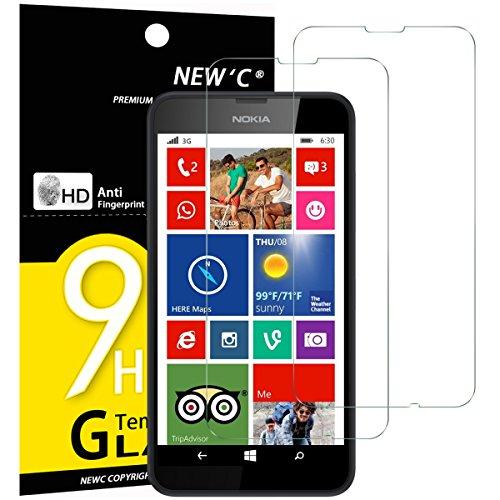 NEW'C PanzerglasFolie Schutzfolie für Nokia Lumia 630/635, [2 Stück] Frei von Kratzern Fingabdrücken & Öl, 9H Härte, HD Bildschirmschutzfolie, 0.33mm Ultra-klar, Bildschirmschutzfolie