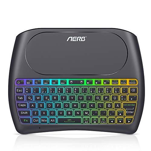 Aerb Mini Kabellose Beleuchtete Tastatur Touchpad-Maus Combo, 2.4 GHz Wireless Tastatur Wiederaufladbare Fernbedienung für Android TV Box, HTPC, Xbox, Smart TV, Laptop/PC (Smart Tv Wireless Tastatur)