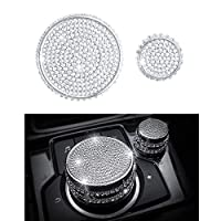 1797 Compatible Multimedia Volume Knobs Caps Decals Stickers for Mazda Accessories Parts 3 6 CX3 CX5 CX9 MX5 Miata Covers Interior Inside Decorations Trim Women Men Crystal Silver Pack of 2