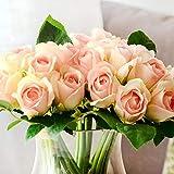 Newest trent Fleurs Artificielles 1Bouquet 9Têtes Faux Caroline Rose Mariée Tenant Fleurs en Soie Feuille Fête de Mariage Table Décoration de Maison Composition Florale 25 * 16CM Rose Clair
