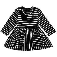 ASHOP Vestidos de Princesa 2019 Tutú Faldes de Fiesta Bolsillos a Rayas Vestido T-Shirt Manga Larga Algodón Casual Niñas 0-4 Años