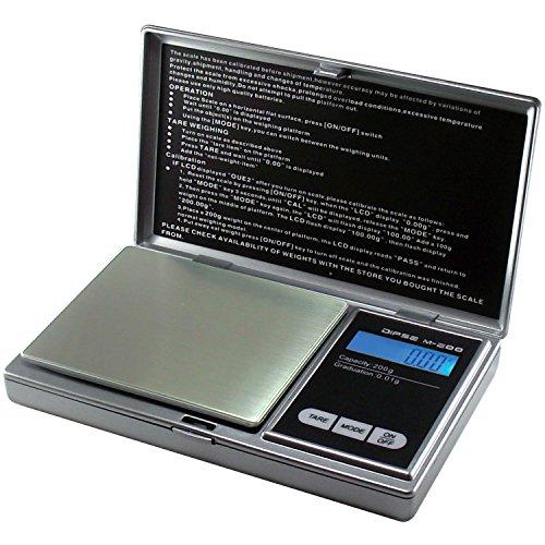 Dipse Digitalwaage M-200 - Digitale Feinwaage / Taschenwaage bis 200g in 0,01g Schritten