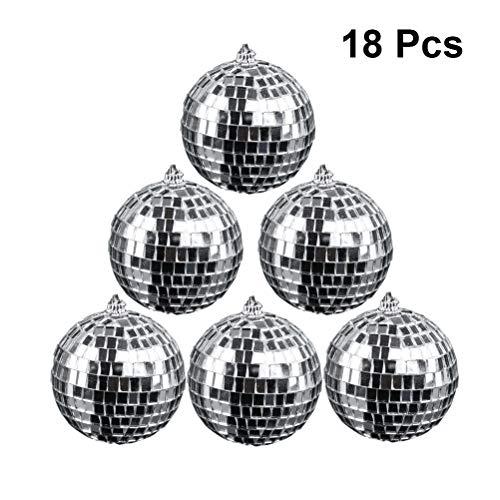 Amosfun 18pcs Spiegelglas Ball Disco Ball hängende reflektierende Kugel für DJ Dance Bühnenbeleuchtung Hochzeit Home Business Fenster Dekor (Silber)