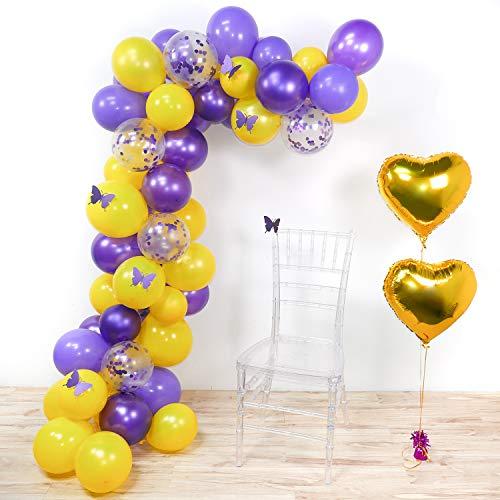 PuTwo Schmetterling Party Luftballons, 62 Stück Lila Luftballons Gelb Luftballons Lila Konfetti Luftballons Herz Folienballon Gold und Lila Schmetterlings aus Papier für Schmetterling Party
