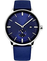 Mens Fashion Wrist Watches with Blue Genuine Leather Strap, Waterproof Stylish Analogue Quartz Watch with Calendar Date Window, Classic Business Casual Dress Watches For Gents Men by RSVOM