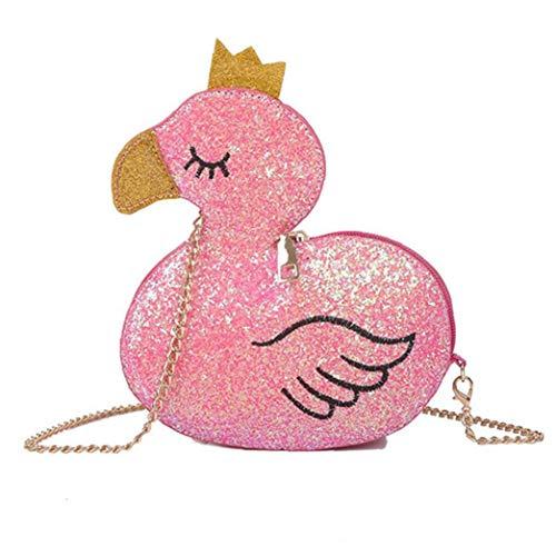 Mädchen 3D-Neuheit-Tierform-Crossbody Beutel Vogue Cartoon Flamingo-Form-Schulter-Geldbeutel Und Handtaschen Für Frauen