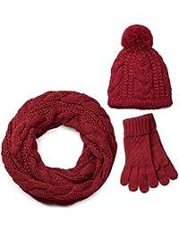 styleBREAKER Schal, Mütze und Handschuh Set, Zopfmuster Strickschal mit Bommelmütze und Handschuhe, Damen 01018208