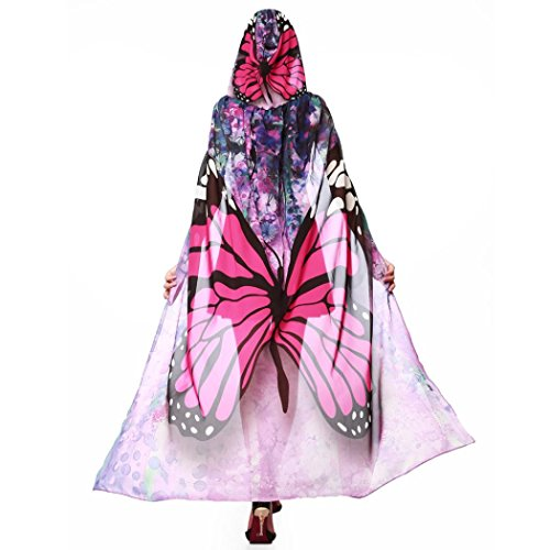 Schmetterling Kostüm Dasongff Frauen Party Kapuzen Umhang Print Chiffon Schmetterling Flügel Cape Schal Pfau Poncho Schal Wrap Karneval Fasching Kostüm Cape mit Kapuze (140 * 100CM, Rose rot)