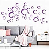 Wandtattoo Blubber Blasen - 40 Stück Deko Kreise in 3 D Optik - Ihre Auswahl: violett