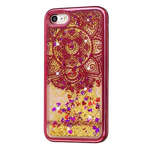 Coque pour iPhone 7, LANDEE Transparente Liquide Paillette Brillante Plastique Arrière Protecteur Dur Etui Housse de Protection Étui Coque Strass Case Cover pour iPhone 7(iphone 7-HXLS-01) iphone 7-HXLS-05