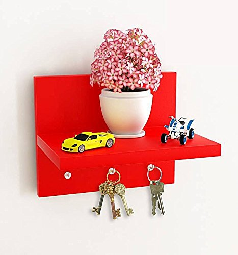 Beautiful Wooden Red Key Holder And Wall Shelf 3 Hooks By Artesia  available at amazon for Rs.449