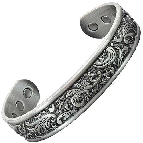 """Damen-Magnetarmband aus reinem Kupfer mit 6 Neodym-Magneten zur Schmerzlinderung bei Arthritis, Magnettherapie, Armband anlaufgeschützt, in Geschenkbox, silber, M: Wrist 16-19.5cm/6""""-7.5"""""""