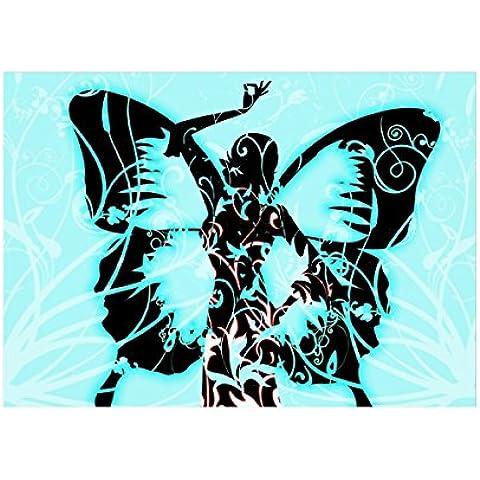 Farfalla, Poster di Carta Manifesto Cartellone Design Art Foto Deco Print Immagine con Disegno Colorato. Dimensione: A5, 148 x 210