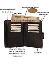 MOOCHIEF Black Men Genuine Leather Wallet (16 Card Slots)