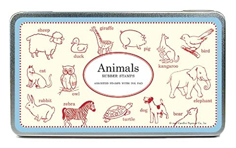Cavallini - Tin of Rubber Stamps - Animals - Black Stamp Pad Included