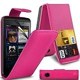 ( Hot Pink ) Blackberry Z10 Premium Faux Kredit / Debit-Karten-Slot Leder Flip Case Hülle & LCD-Display Schutzfolie by Fone-Case