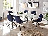 22458-7tlg Essgruppe/Glas / Blau Glastisch ausziehbar Esstisch Stühle