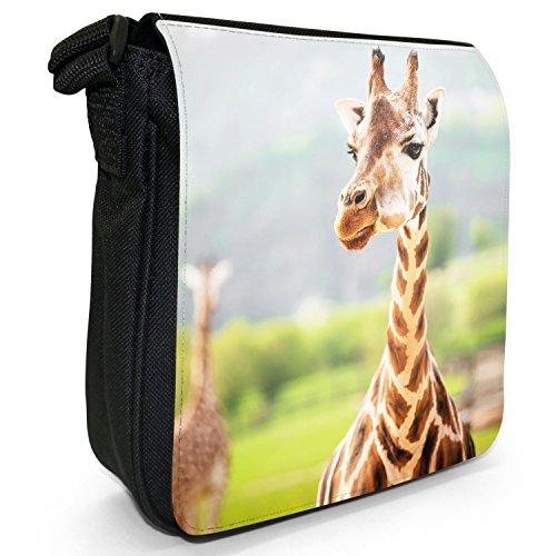 African Giraffe-Borsa a tracolla in tela, piccola, colore: nero, taglia: S Nero (Giraffe In Safari Park)