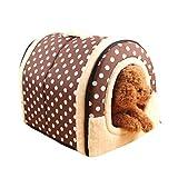Amphia - 2 In 1 Haustier Haus und Sofa, Maschinenwaschbar Braun Muster Anti-Rutsch Faltbare Weich Warm Hund Katze Hündchen Kaninchen Haustier Nest Höhle Bett Haus mit Abnehmbarem Kissen