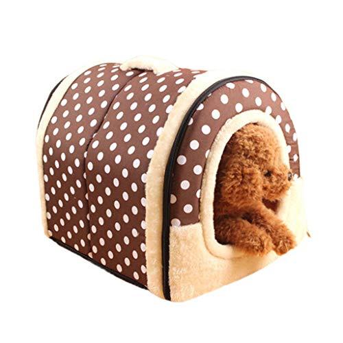 Katze Kostüm Kaninchen - Amphia - 2 In 1 Haustier Haus und Sofa, Maschinenwaschbar Braun Muster Anti-Rutsch Faltbare Weich Warm Hund Katze Hündchen Kaninchen Haustier Nest Höhle Bett Haus mit Abnehmbarem Kissen