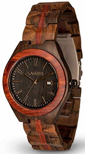 Holzkern Herren Analog Quarz Uhr mit Holz Armband 0022