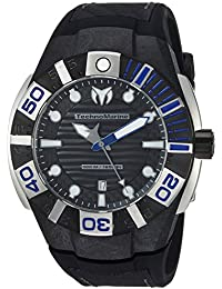 Technomarine Men's 'Reef' Quartz Stainless Steel and Silicone Casual Watch, Color:Black (Model: TM-515027)