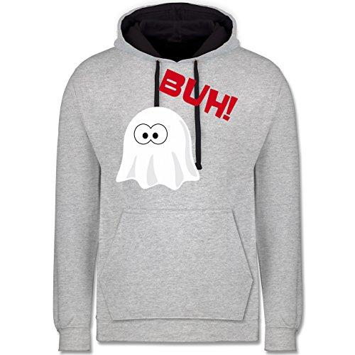 Shirtracer Halloween - Kleiner Geist Buh süß - L - Grau meliert/Navy Blau - JH003 - Kontrast Hoodie