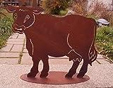 Edelrost Kuh Rosalie auf Platte 46x40cm, inkl. Herz 8x6cm Tierfigur Bauernhof Garten Deko Rost