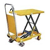Taurolifter Scheren-Hubtischwagen, Traglast 150 kg, Plattform 740x450 mm, Hubhöhe 740 mm, gelb
