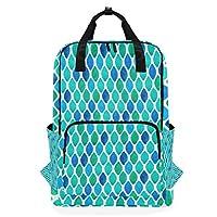 LUPINZ Abstract Cyan Diamond Pattern Backpack Durable Soulderbag Bookbag Back to School