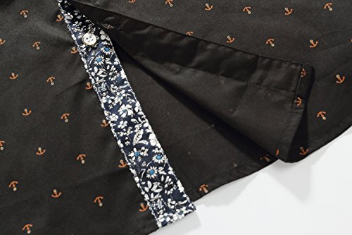SSLR Herren Freizeit Straight Fit Printing Casual Kurzarm Hemd Schwarz