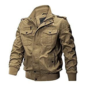 KEFITEVD Men's Multi Pocket Casual Cargo Stand Collar Military Tactical Cotton Jackets Coat Windbreaker