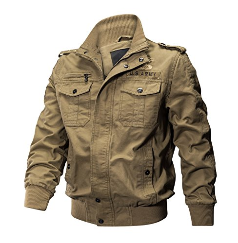 KEFITEVD Herren Frühling Jacke Vintage Stickerei Bomberjacke Stehkragen Militärische Taktische Jacke Mantel Windbreaker Khaki
