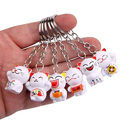 Gwill - Llavero de gato japonés de la suerte, 6 unidades, diseño aleatorio, llavero, llavero de Fengshui Fortune Lucky Cat Kitty, llavero, llavero de buena salud Mascota Evitar Evil, 6 unidades