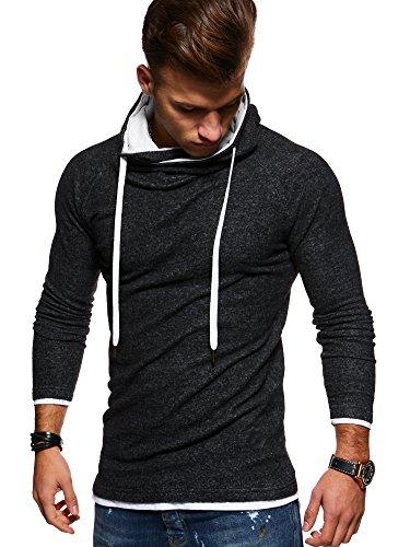 MT Styles Herren 2in1 Oversize Hoodie Pullover Kapuzenpullover Hoodie High-Neck MT-7435 [Schwarz, M]