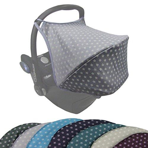 BAMBINIWELT Sonnenverdeck UV50+ für Maxi-Cosi Cabriofix, Sonnendach Babyschale, Autositz STERNE (hellgrau Sterne)