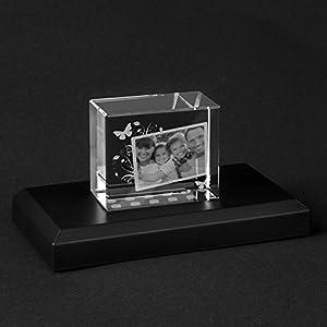 Personello® Glasfoto mit Gravur und Foto Collage, Foto in Glas Block graviert, Fotogeschenke, Größe L=100x70x60mm