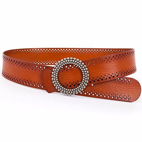 Weibliche dekorative breite Gürtel Leder Ledergürtel hohl Mantel Kleid Braun