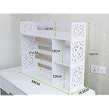 Estantería, Escritorio de oficina Estantería ordenador monitor de cristal líquido Partición Estantería de almacenamiento Plástico de madera impermeable Marco de acabado