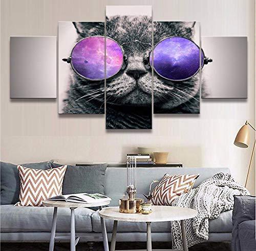 Moderne Leinwand Malerei Für Schlafzimmer Wand Kunstdruck Bild 5 Stücke Tier Katze Mit Sonnenbrille Poster Wohnkultur Rahmen