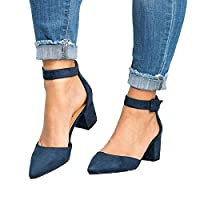 LAICIGO Women's Pumps Sandals Chunky Low Heel Dress Casual D'Orsay Shoes with Ankle Strap