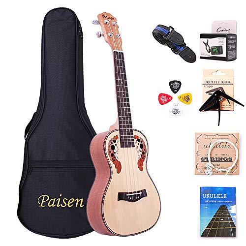 Paisen Pannello in abete rosso da 23 pollici Concerto ukulele Hawaii Ukulele Hawaii Invia con borsa di spessore Tuner Capo Strap Picks Set completo di accessori