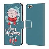 Head Case Designs Offizielle Kristina Kvilis Mr. Schwein Weihnachtstiere 2 Brieftasche Handyhülle aus Leder für iPhone 6 / iPhone 6s